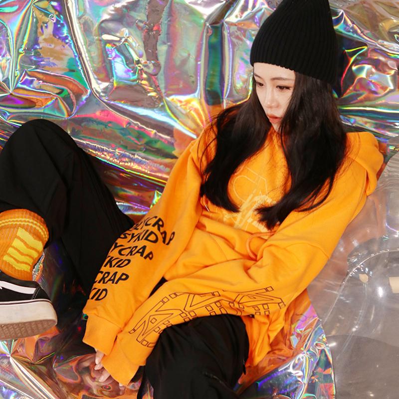 男女hiphop嘻哈国潮橙色卫衣中长连帽印花长袖宽松街舞潮牌情侣装