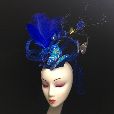 Chinese Wind Butterfly Feather Headdress Headdress Stage Performance Walking Show Annual Meeting Photographic Bride Creative Modeling Female
