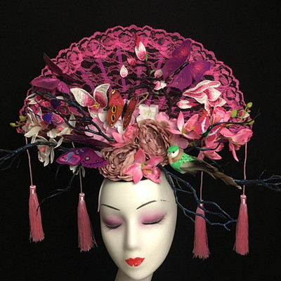 Chinese Style, Fashion, Personality, tassels, Fans, Headwear, Stage Show, Colorful Makeup, Creative Form, Headdress Girl
