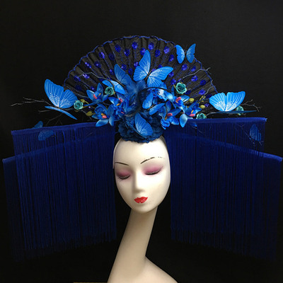 T-stage show blue butterfly flower tassels creative hairdressing Chinese wind stage exaggerated fan headdress