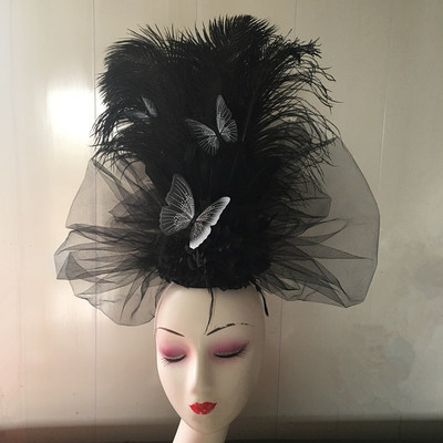 Chinese Wind Butterfly Feather Headdress Headdress Stage Model Walking Show Annual Meeting Performing Photographic Bride Creative Modeling Female