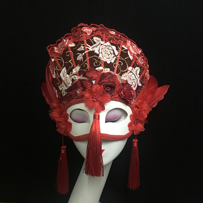Venice Personality Red Full Face Mask Song King Stage Performance Fan Mask Halloween Girl