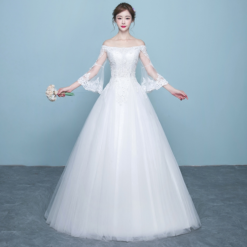 USD 184.92] The word shoulder wedding dress 2018 is a new bride ...
