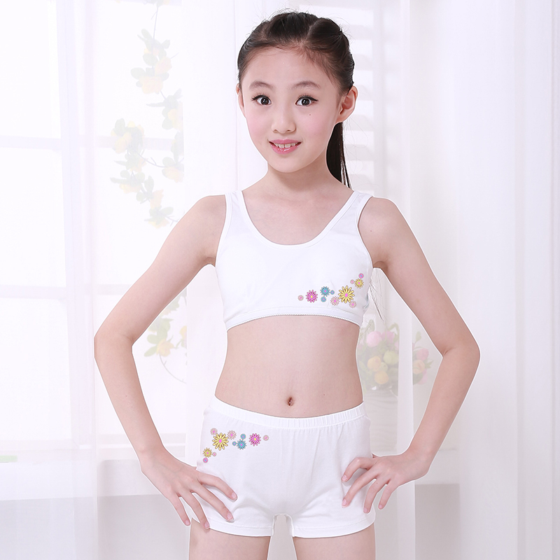 8a445385a46bc Girls cotton bra set 9 large children s underwear 10 small vest 12-15 years  old