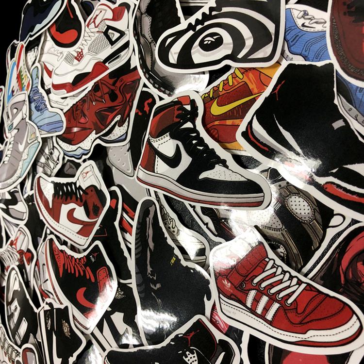貼紙 機車貼紙 60枚籃球鞋貼紙行李箱滑板吉他拉桿箱AJ鞋柜墻面裝飾貼畫車貼防誰 優品百貨
