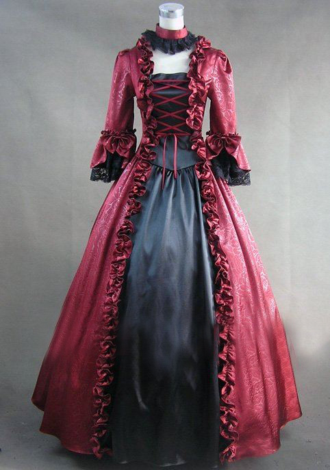 LL329)Long Sleeves Gothic Victorian Lolita Prom Dress Ball Gown ...