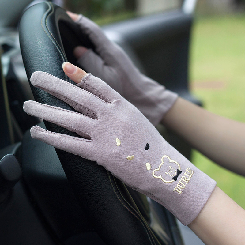 夏季女防晒手套薄款纯棉 开车掌心防滑露指触屏短手套 可爱透气