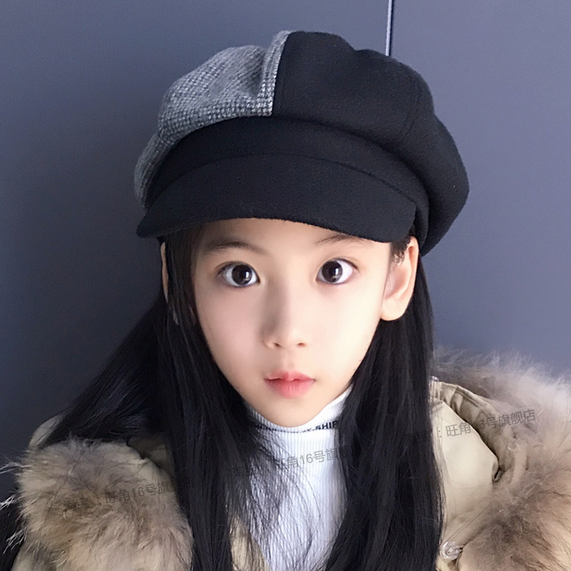 Осенью и зимой в больших детей восьмиугольный крышка мальчиков и девочек, тыква крышка смешанные цвета корейский отцовство берет студент крышка фуражка
