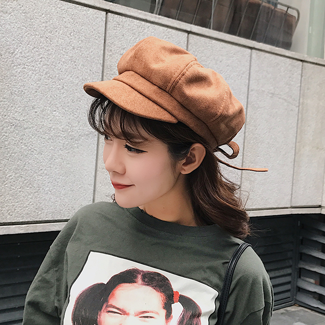 678ca1687 Hat female autumn and winter Korean version of the bow octagonal cap cap  Japanese literary wild English painter beret