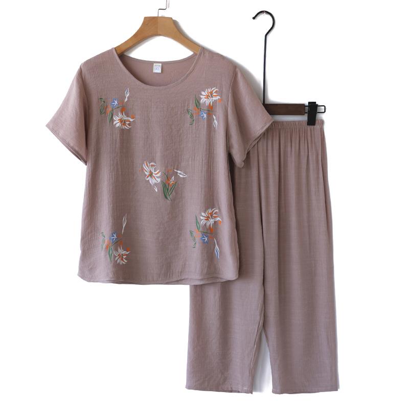 凉爽奶奶装夏装套装老年人女妈妈短袖棉麻睡衣老人夏天衣服两件套
