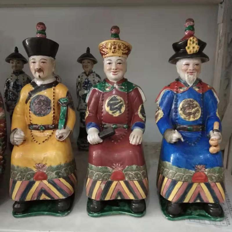 景德镇康熙 雍正 乾隆人物陶瓷雕塑 清代康乾盛世三代人雕塑塑像