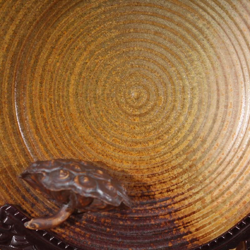 窑变釉莲蓬简约艺术装饰瓷盘 高雅高品位时尚装饰瓷盘 超时尚摆件