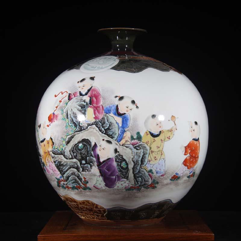 Jingdezhen hand - made works of tong qu tong qu Peng who porcelain Jingdezhen porcelain vase famous works