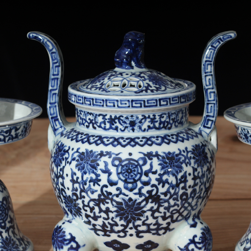 Jingdezhen five for five bound set branch lotus flower vase with candlestick censer porcelain for five sets with cover the present five for China