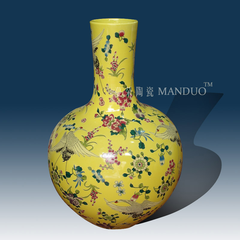 Jingdezhen lad with a spring in yellow crane branch lotus celestial vase elegant Chinese style decorative vase