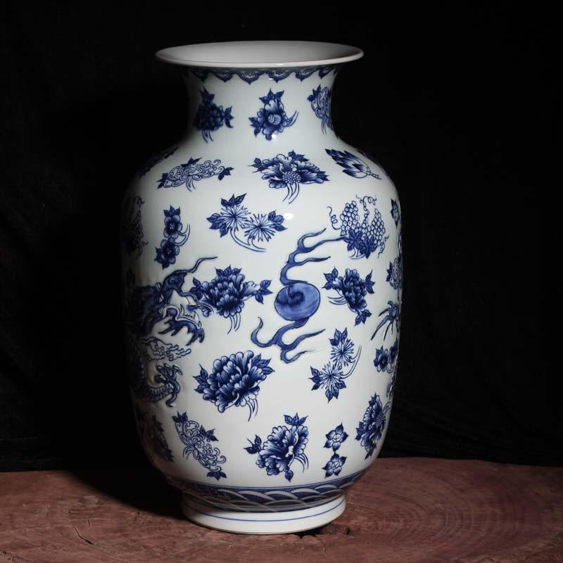 Jingdezhen porcelain its dragon 40-45 Gao Qinghua idea gourd porcelain porcelain vase dragon vase
