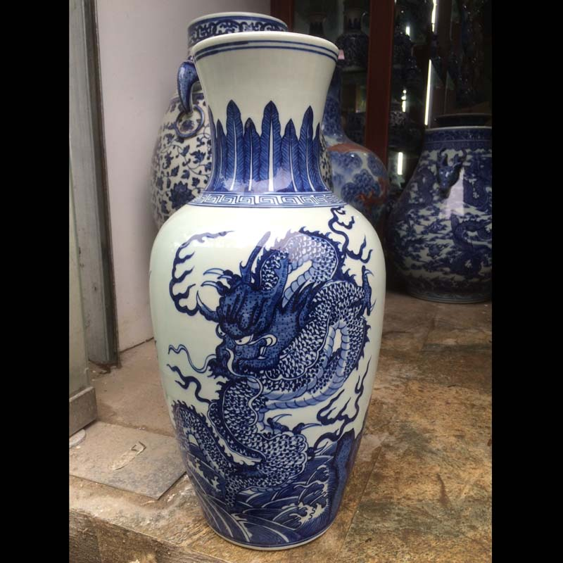 Jingdezhen imitation of the qing 38 cm high blue and white dragon ground decoration hand - made ceramic flower bottle furnishing articles exposure vase