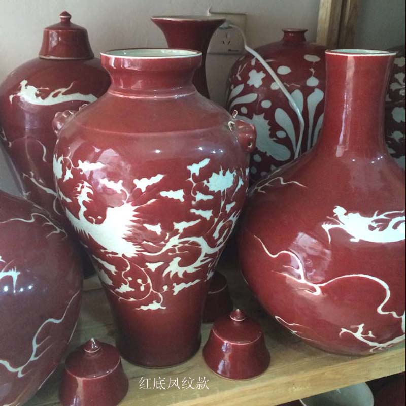 Jingdezhen hand - made imitation of yuan and Ming ji blue and white Long Mei bottles of red white ceramic vase having chicken lines hand - made of vases