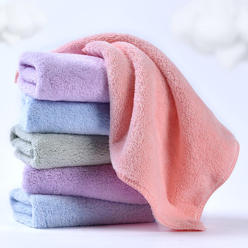 6条儿童珊瑚绒毛巾女比纯棉吸水洗脸家用小方巾正方形擦手巾挂式