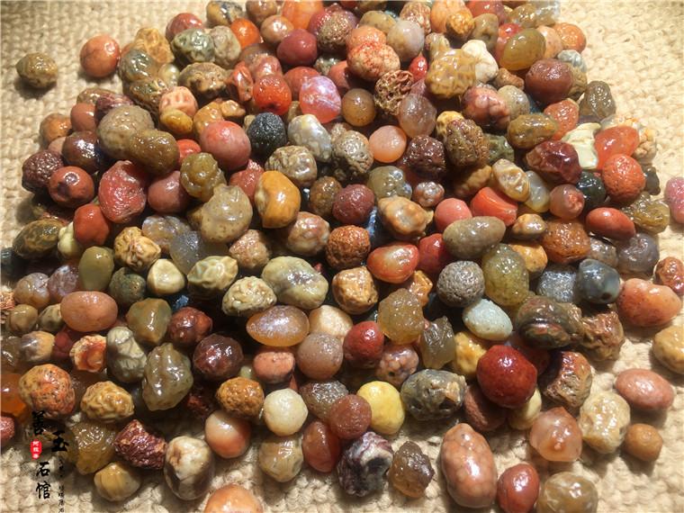 善玉石馆天然阿拉善戈壁玛瑙原石多色红经脉绿经脉黄经脉等散珠