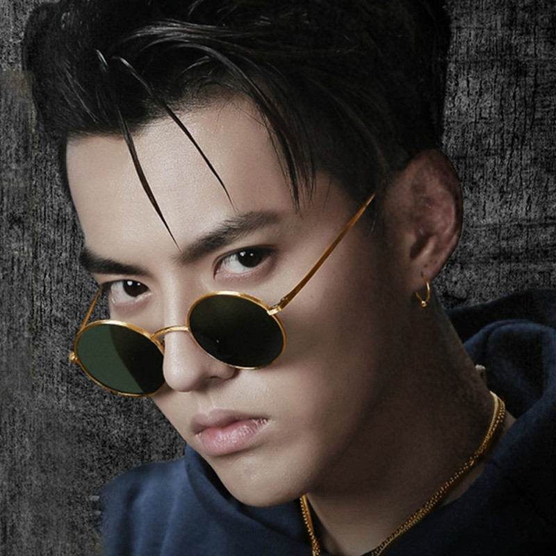 c3f07e6caea Retro small round frame hip-hop glasses male net red tide people Prince  mirror metal sunglasses can be equipped with myopia sunglasses female