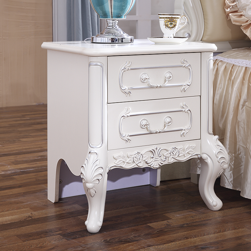 European Style Bedroom Bedside Cabinet Paint Solid Wood Simple Modern Storage Drawer French White Embly