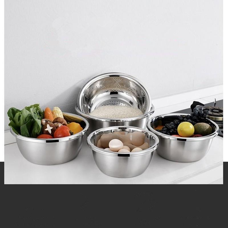五件套不锈钢盆圆形加厚加深盆子洗菜沥水盆