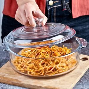 利比玻璃煲加厚耐热钢化碗带盖子汤锅烫煲微波炉面碗水果沙拉碗