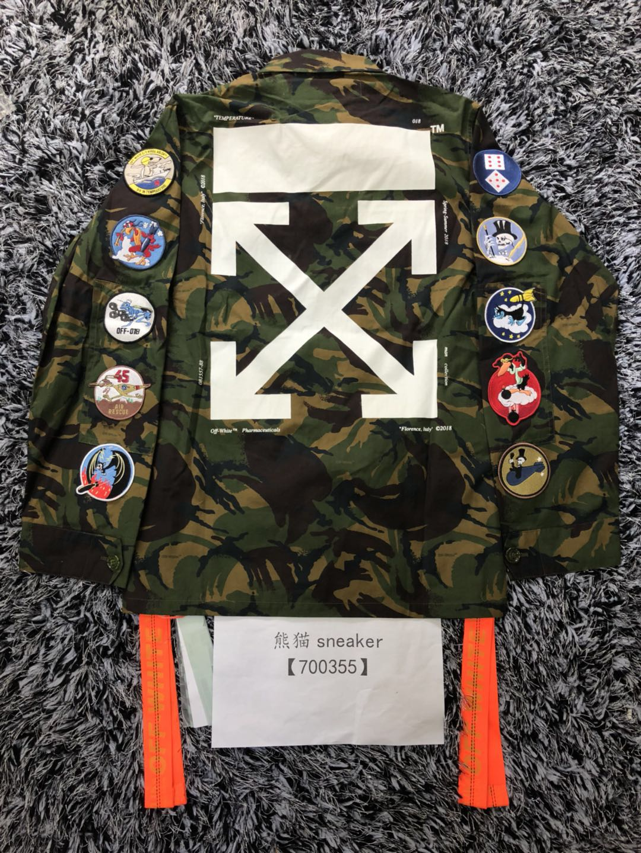 ead68464ffc49 OFF-WHITE C O VIRGIL ABLOH 18ss badge streamer arrow camo armband jacket