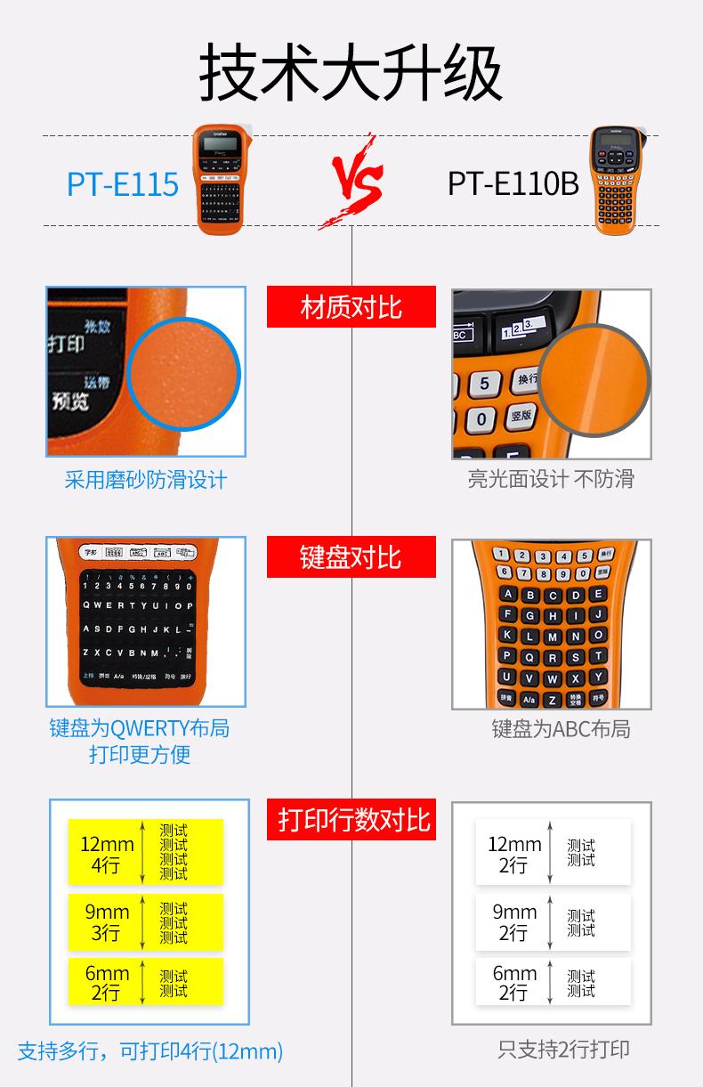 兄弟PT-E115便携式手持标签打印机防水不干胶标签打印机