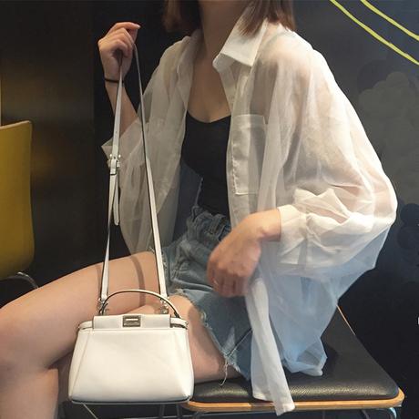 | Цена 1083 руб | Рубашка лето южной кореи вентелятор свободный дикий шифон рубашка кардиган иностранных башня пальто доломан солнцезащитный одежды женщина