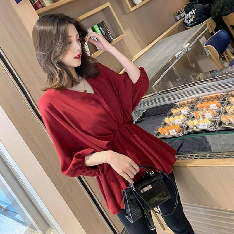 2019新款春夏V领很仙的上衣洋气衬衫红色设计感心机小众衬衣女潮_领取100元淘宝优惠券