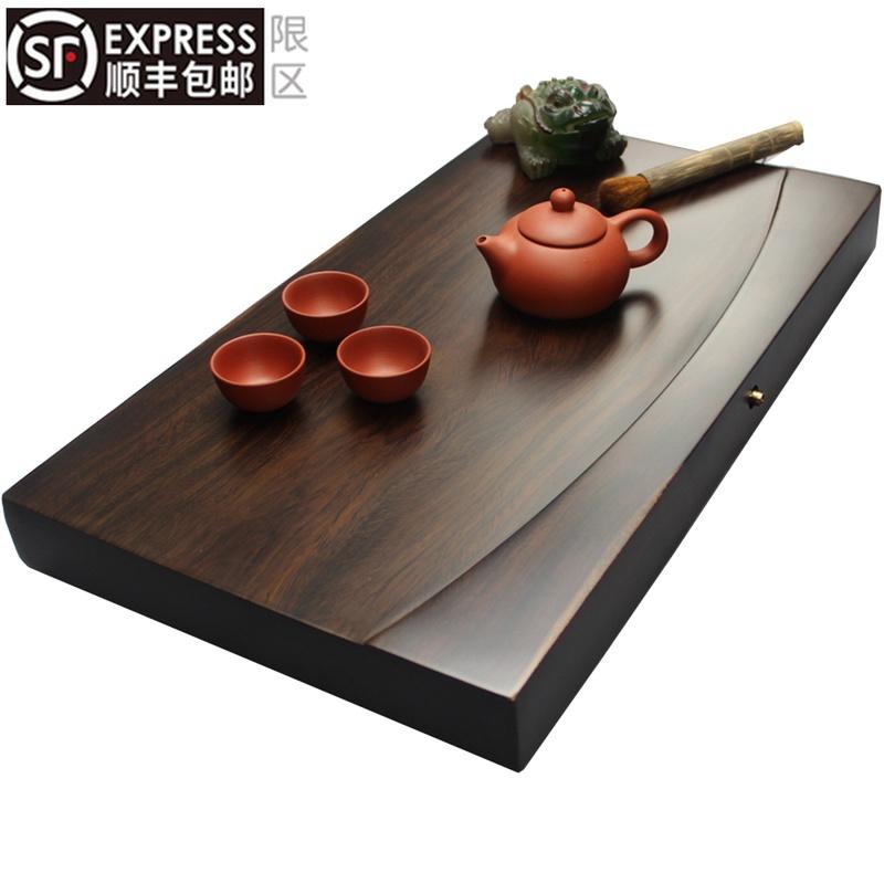 Whole ebony tea tray Solid wood tea table rectangular wood household tea sea large drainage simple Kung Fu tea set