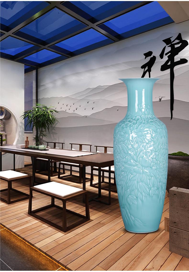 Jingdezhen ceramics craft anaglyph celadon big vase landed furnishing articles large green glaze office sitting room adornment