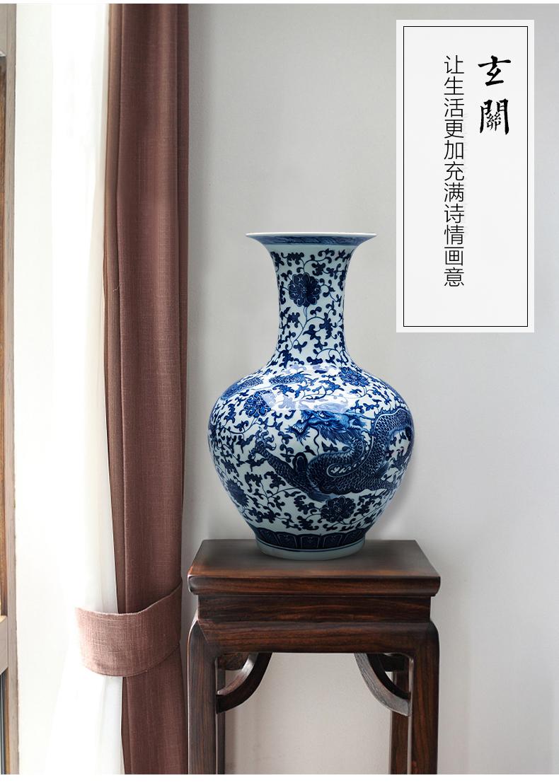Jingdezhen ceramics hand - made antique blue and white porcelain vase landed restoring ancient ways design home sitting room adornment is placed