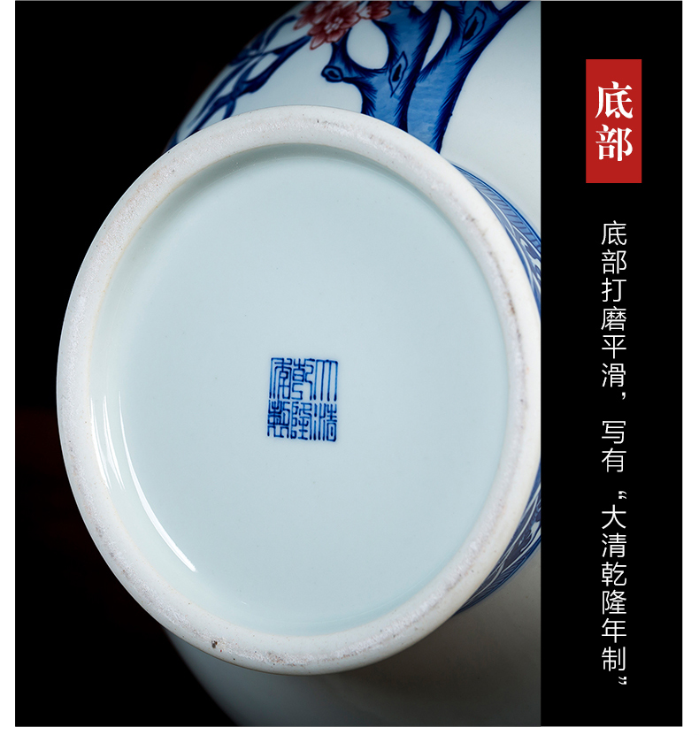 Jingdezhen ceramics manual hand - made porcelain youligong peach of blue and white porcelain vase antique Chinese style household act the role ofing is tasted