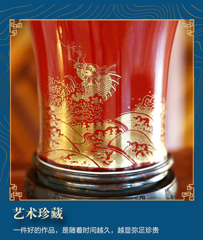 Jingdezhen chinaware paint dragon bottle mei ji blue vase furnishing articles Chinese style decorates sitting room rich ancient frame accessories