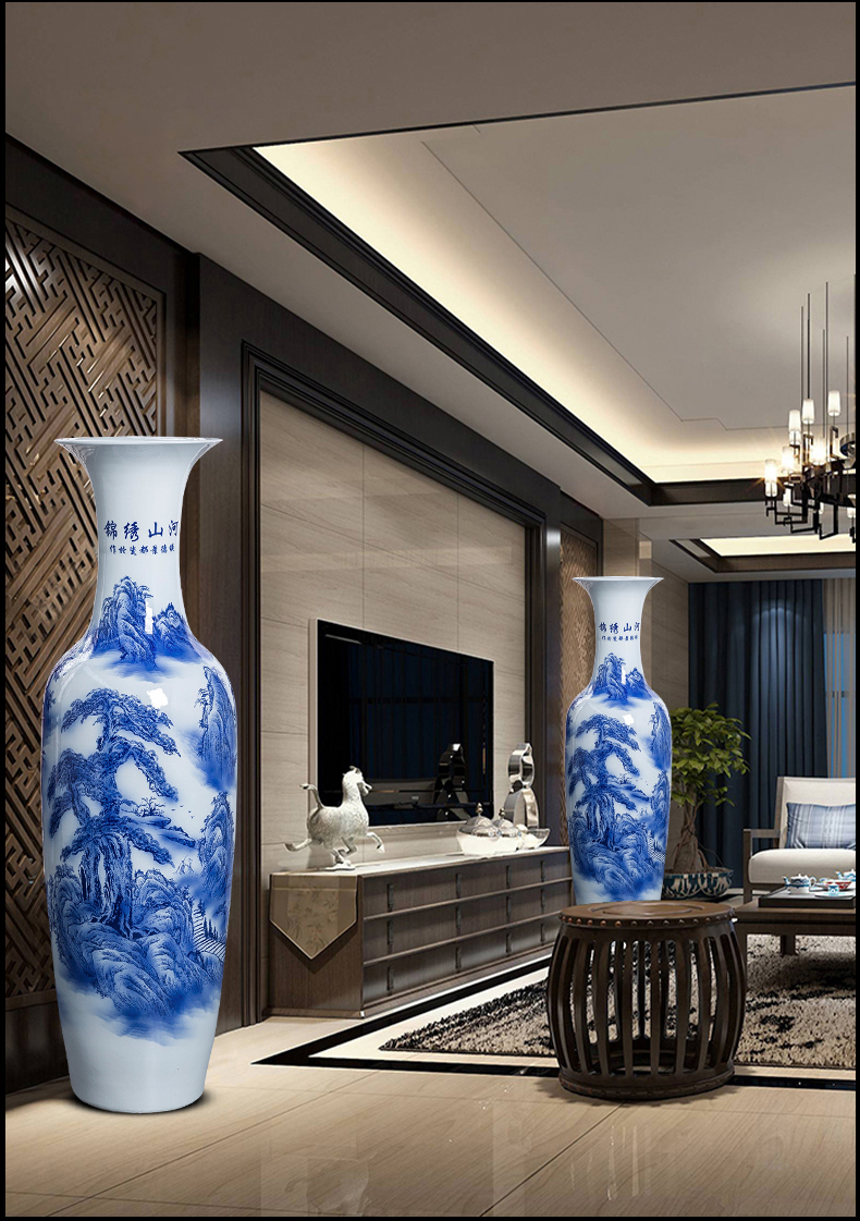 Jingdezhen ceramic floor extra large size vase splendid furnishing articles was sitting room TV ark, of blue and white porcelain hotel decoration