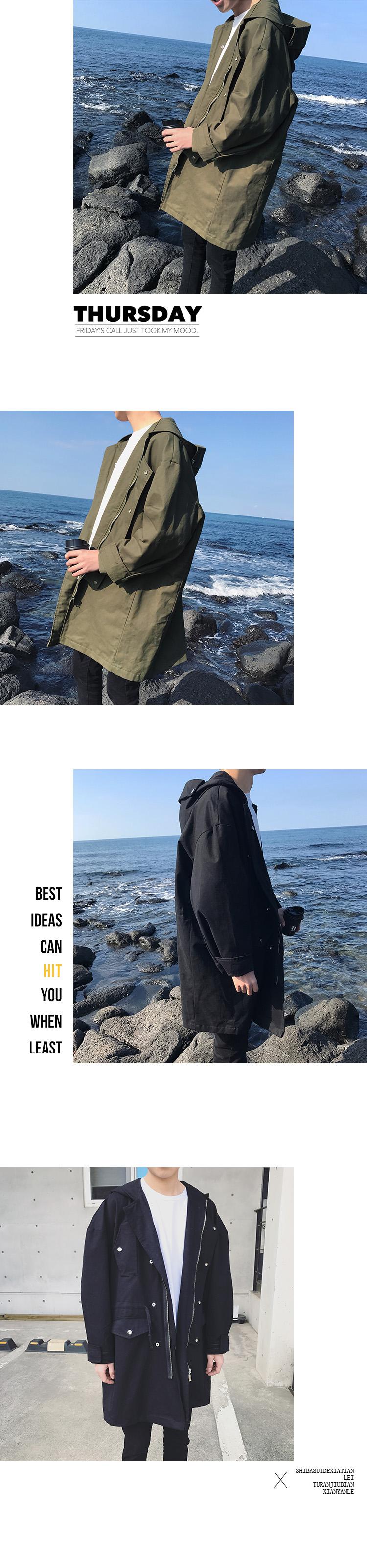 Gà chiên trông tốt ~ mùa xuân nạp vai dài trùm đầu áo khoác đẹp trai dụng cụ phù hợp với phiên bản Hàn Quốc của áo gió mỏng lỏng thủy triều
