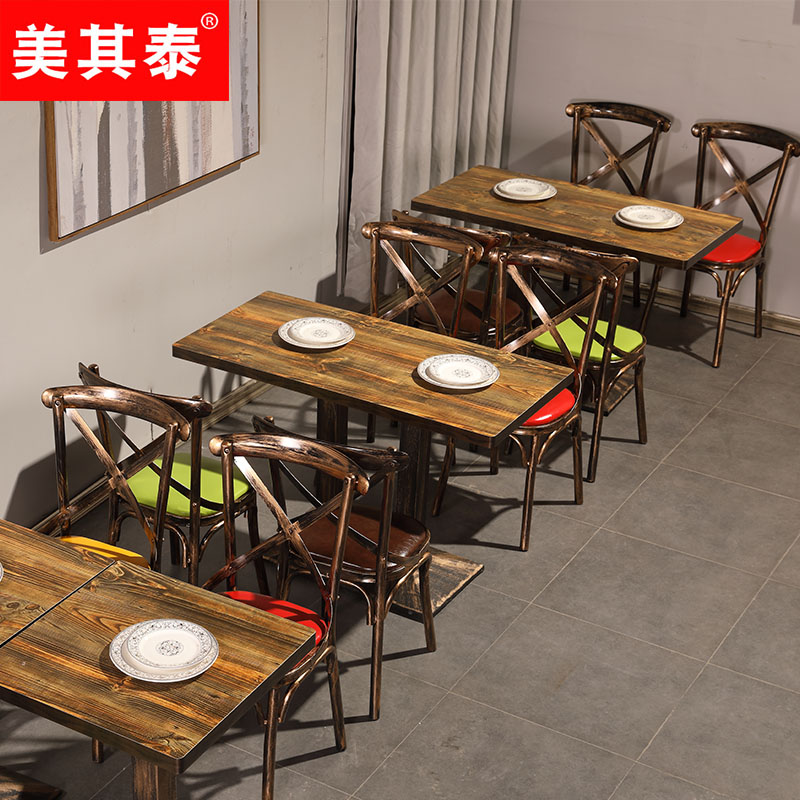 Snack bar table and chair combination retro hot pot catering tea snack bar table and chair combination retro hot pot catering tea shop fast dining table and watchthetrailerfo