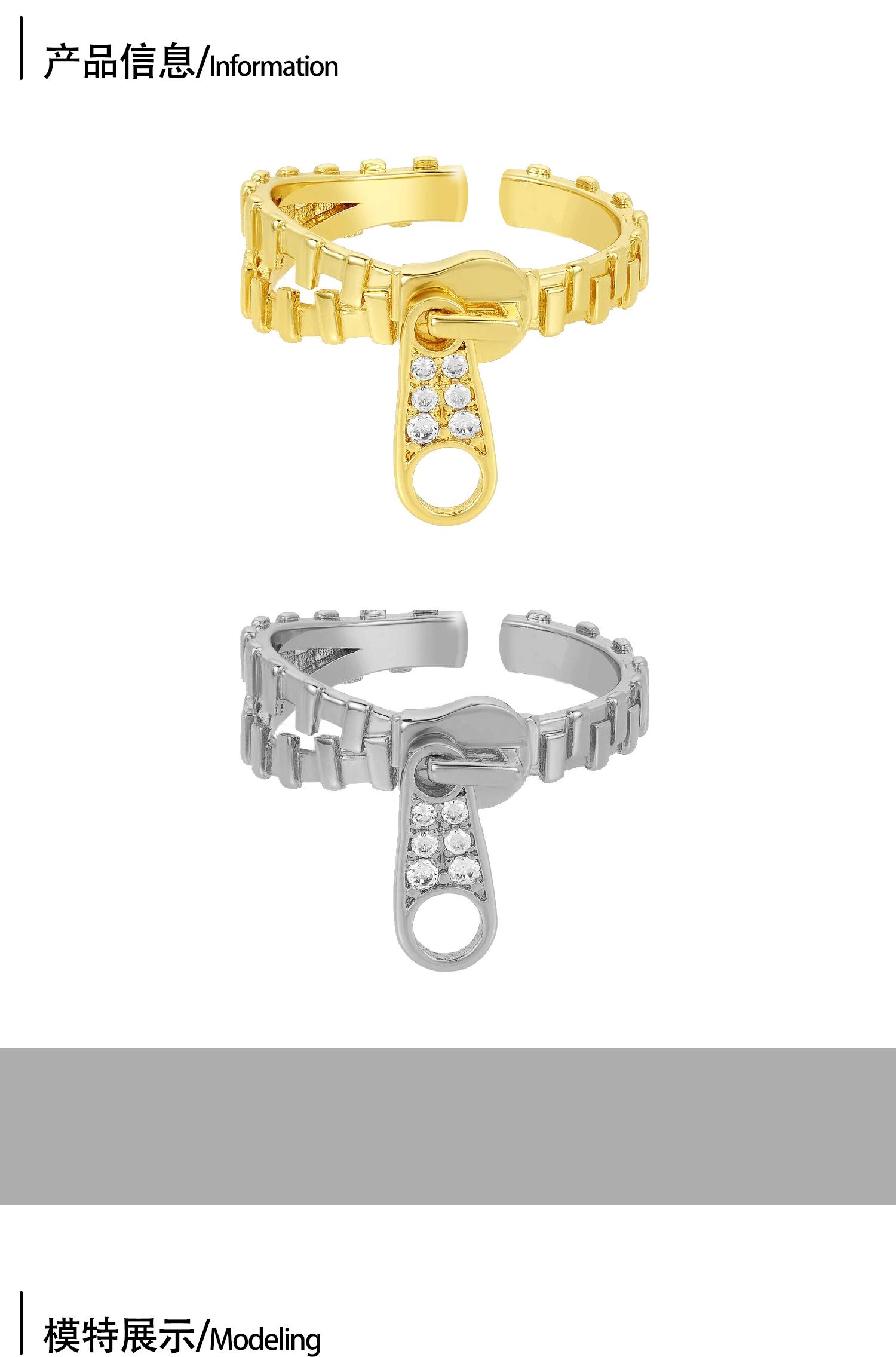 JUNJUN ACCWearring 時尚小眾設計拉環戒指女 復古流蘇鋯石開口可調節指環
