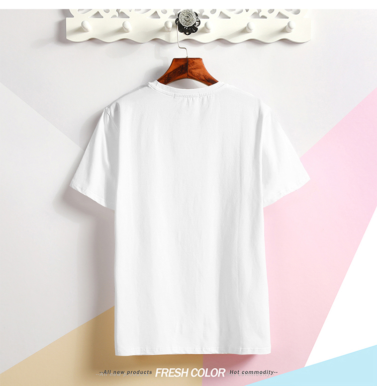 挂拍 2020夏季卡通人物印花t恤青少年圆领纯棉半袖衫体恤T28P15
