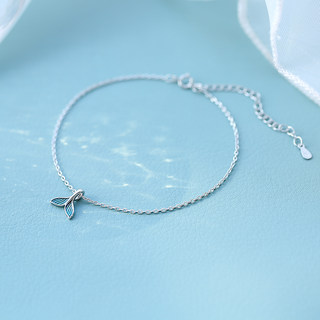 Cold air drops of hand-S925 Silver blue enamel glazes mermaid tail tide creative cute fish anklets female models