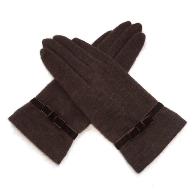 Перчатки Бесплатная доставка осень и зима новый леди шерсти кашемира перчатки атмосферу простых моделей бархатной лентой бантом теплые перчатки!
