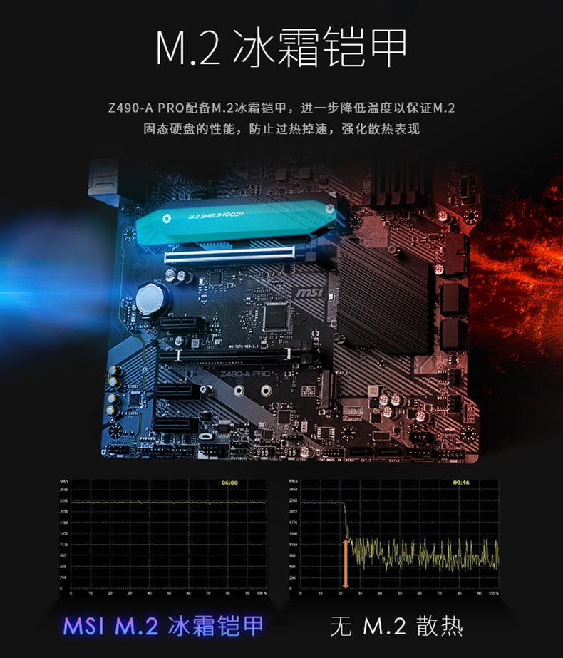 微星 Z490-A PRO ATX Motherboard 主板 Z490 LGA1200 英特尔主板 Intel主板