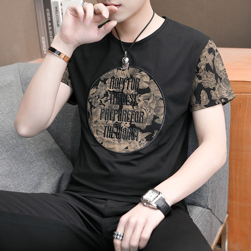 Men's short-sleeved t-shirt half-sleeveins trend embroidery bottomshirt T-shirt on men's 2020 new summer