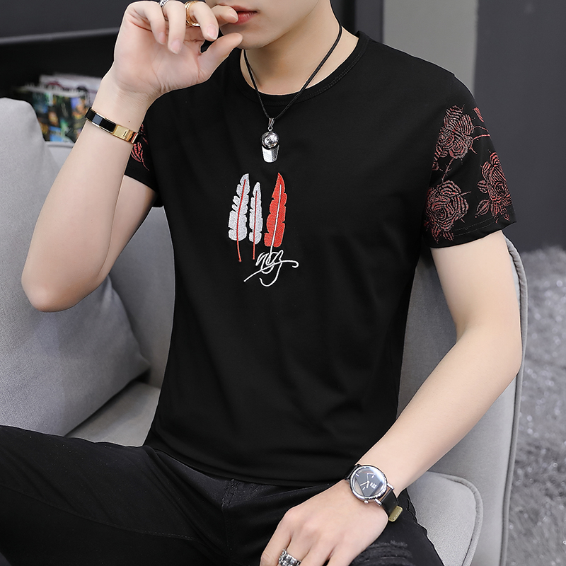 Men's short-sleeved T-shirt 2019 summer new Korean version of the tide brand daily set-up solid-colored half-sleeved bottomshirt top man