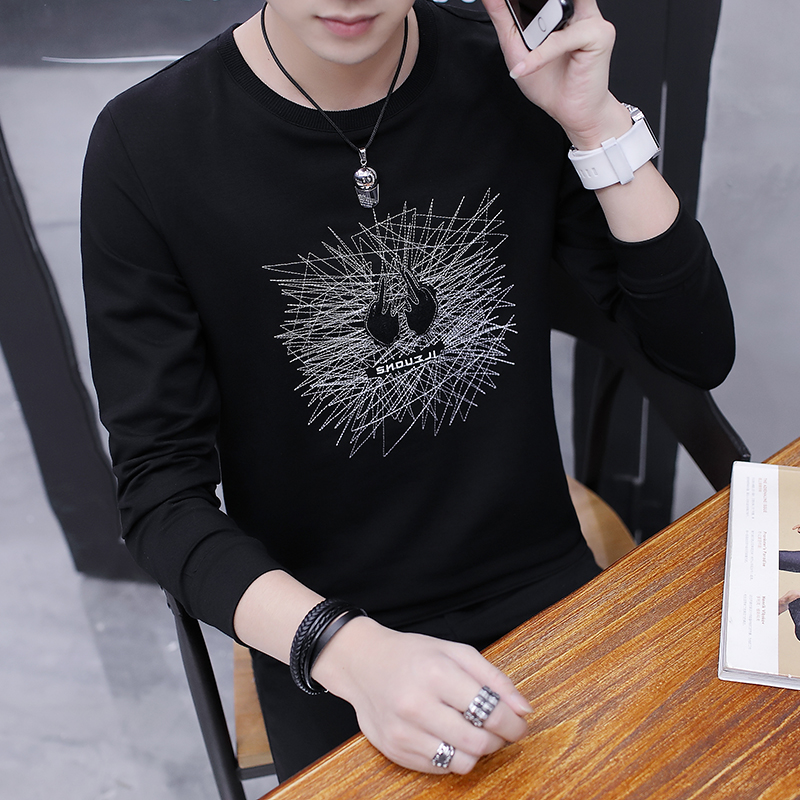 Spring new men's long-sleeved t-shirt Korean version slimmed round collar student print bottomshirt menswear trend on the dress