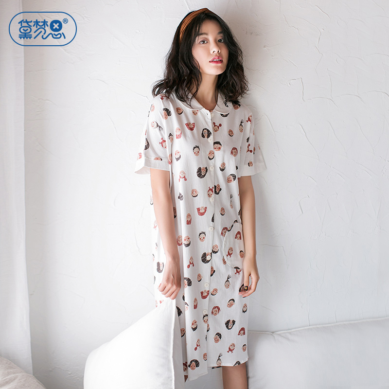 6bd1da826d Sleeping skirt female Summer Female pajamas Korean cartoon girl cute cotton  nightdress cardigan can wear cotton home service