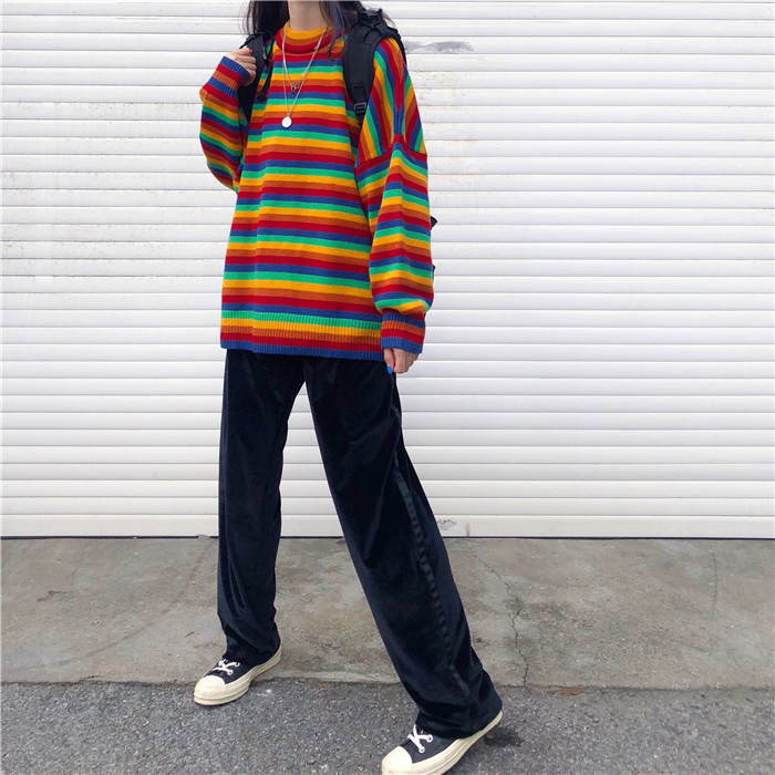 Female Korean Harajuku Hong Kong-flavored Loose Striped Sweater Women's Sweaters Japanese Kawaii Ulzzang Clothing For Women 9